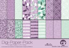 "Digi-Papers ""flowers lila-mint"""