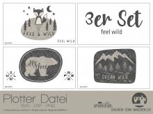 """Plotter-Datei """"feel wild"""" (3er-Set)"""