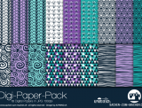 "Digi-Papers ""Blumen lila/mint"""