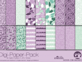 "Digi-Papers ""flowers lila-mint"""