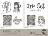 """Plotter-Datei """"comic girlie"""" (3er-Set)"""