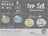 """Plotter-Datei """"Papierdrachen"""" (3er-Set)"""