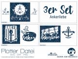 """Plotter-Datei """"Ankerliebe"""" (3er-Set)"""