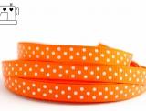 Ripsband, 9mm, Punkte/orange