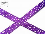 """Ripsband, 16mm,""""stars violet/white"""""""
