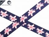 "Ripsband, 22mm ""Blumen Hibiscus navy/rosa"""