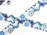 "Ripsband, 22mm ""Blumen/Sommervogel 2 hellgrün/hellblau"""