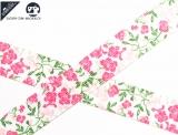 """Ripsband, 22mm """"Blumen Muster weiss/pink/grün"""""""