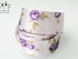 Satin-Band 25mm Rosen weiss-violett
