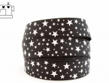 "Ripsband, 25mm, ""stars black/white"""