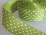 Ripsband, 25mm, hellgrün mit Punkten