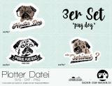 "Plotter-Datei ""pug dog"" (3er-Set)"