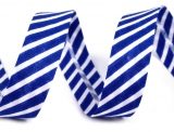 Schrägband 14mm gestreift blau/weiss