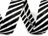 Schrägband 14mm gestreift schwarz/weiss